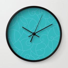 Koru Shell Pattern - Blue Wall Clock