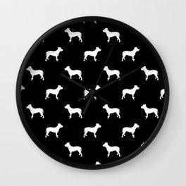 Pitbull black and white pitbulls silhouette minimal dog pattern dog breeds dog gifts Wall Clock