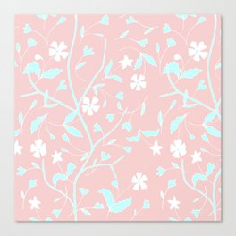 Girly blush pink teal white hand painted floral Canvas Print