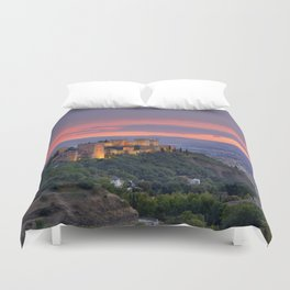 The alhambra and Granada city at sunset Duvet Cover