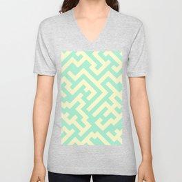 Cream Yellow and Magic Mint Green Diagonal Labyrinth Unisex V-Neck