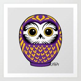 Purple Fukuro Daruma Art Print