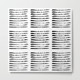 Black squared stripes, hand painted rough texture Metal Print
