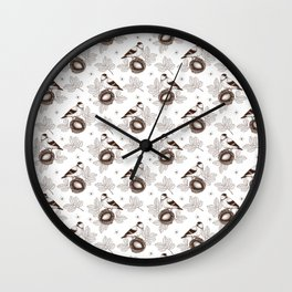 Sketched Birds 5 - Smaller Pattern Wall Clock