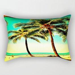 Normal Green Yellow Vintage Palm Tree with Hawaii Summer Sea Beach Rectangular Pillow
