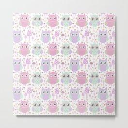 Cute mauve pink purple teal owl floral pattern Metal Print
