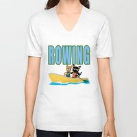 rowing V-neck T-shirts featuring Rowing by BATKEI