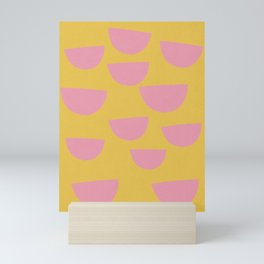 Petals (Pink on Mustard) Mini Art Print