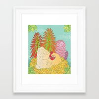 chicken Framed Art Prints featuring Chicken by Raewyn Haughton