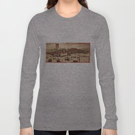 Vintage Pictorial Map of Lisbon Portugal (1572) Long Sleeve T-shirt