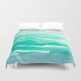Modern abstract turquoise aqua watercolor Duvet Cover