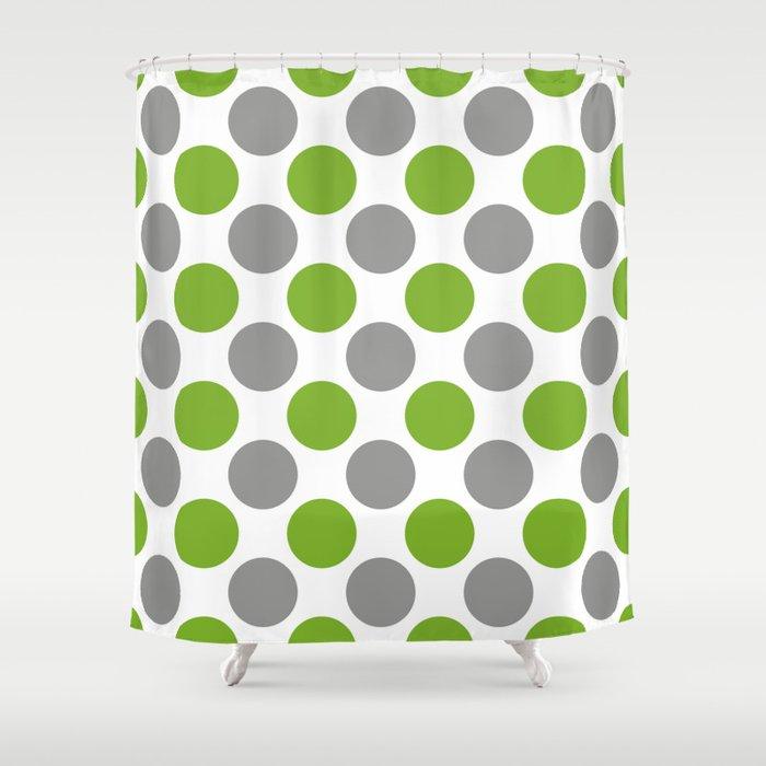 Gray and green polka dots Shower Curtain by sunshineprints   Society6