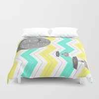 death star Duvet Covers featuring Star Wars Death Star Chevrons by foreverwars