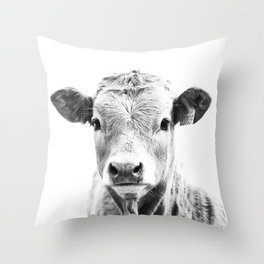 bw cow, southwest decor, farmhouse photography, rustic decor Throw Pillow