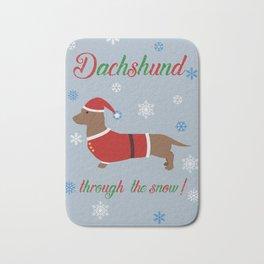 Dachshund through the snow - santa Bath Mat