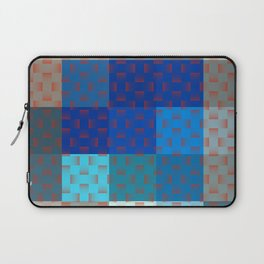 BLUE AND BROWN TONES - BLOCKS AND WEAVE PATTERN Laptop Sleeve