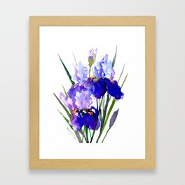 Garden Irises, Blue Purple Floral Design Framed Art Print