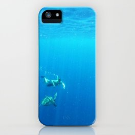 Diving in the deep blue iPhone Case