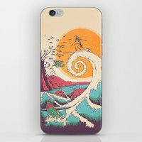 wave iPhone & iPod Skins featuring Surf Before Christmas by Victor Vercesi