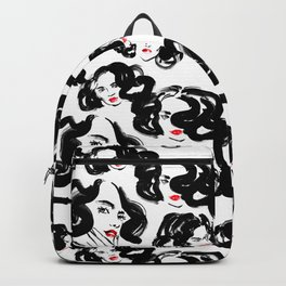 A pattern of glamorous girls with wavy hair - in black and red colors Backpack