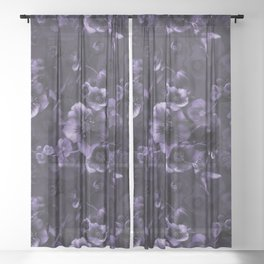 Moody florals purple by Odette Lager Sheer Curtain