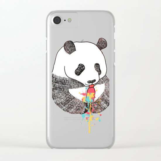 Panda Loves Ice Cream Clear iPhone Case