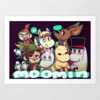 moomin Art Prints featuring Moomin by lemonteaflower