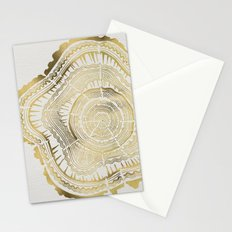 Gold Tree Rings Stationery Cards