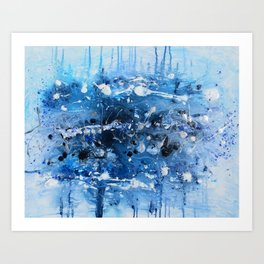Deep Blue Space - Stalactites & Stalagmites Collection by (c) Janet Watson Art Art Print