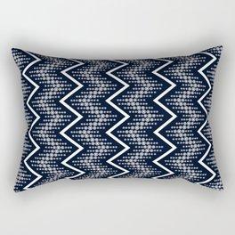 Dark Blue & White Zigzag Pattern Design Rectangular Pillow