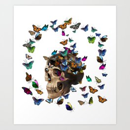 Butterflies and a skull Art Print