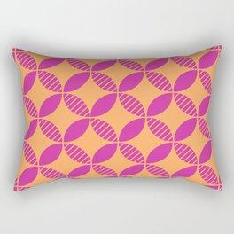 Mid Century Modern Geometric Flower Pattern Magenta and Orange Rectangular Pillow