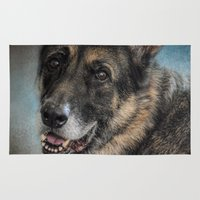 german shepherd Area & Throw Rugs featuring Portrait of a Shepherd - German Shepherd by Jai Johnson