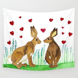 Hares in Love Wall Tapestry