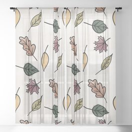 Watercolor Autumn Leaves Pattern Sheer Curtain