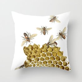 BEES and Honeycomb Throw Pillow