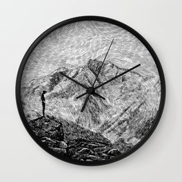 Child on the rock - Black ink Wall Clock