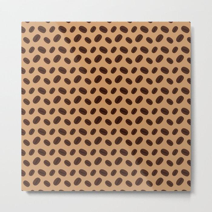 Cool Brown Coffee beans pattern Metal Print