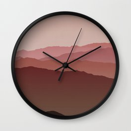 Misty Mountain Pink Wall Clock