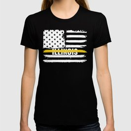 Illinois 911 Emergency Dispatcher Gift for Police, Fire and Ambulance Dispatchers Thin Gold Line T-shirt