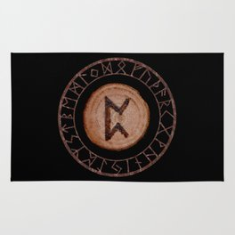 Perthro Elder Futhark Rune of fate and the unmanifest, probability, luck, nothingness, the unborn Rug