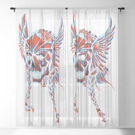 Death Flying Skull Sheer Curtain