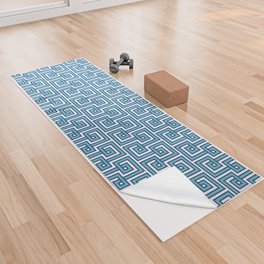 Greek Key - Turquoise Yoga Towel