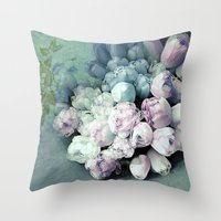 antique Throw Pillows featuring Tulips Antique by Joke Vermeer