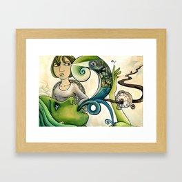 On Green Framed Art Print