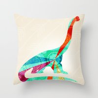 dinosaur Throw Pillows featuring dinosaur by Emmy Winstead