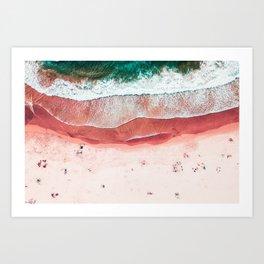 Pink Beach Print, Aerial Beach, Bondi Beach, Aerial Photography, Ocean Waves, Waves Print, Sea Print, Modern Home Decor Print Art Art Print
