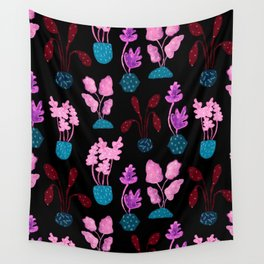 Painted Postmodern Potted Plants in Black Wall Tapestry
