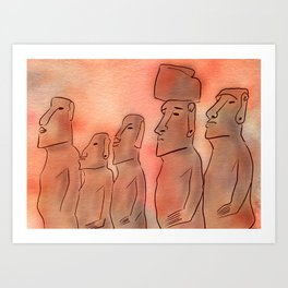 Moai statues watercolor Art Print