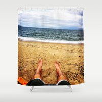 north carolina Shower Curtains featuring North Carolina  by ErikMcManusInc.